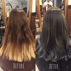 Before and after - dark blue grey ********** CLEO hair international  call here 63385250 for book appointment Hair done by @takuyaxtakuya  #hair #haircolor #hairstyle #japanese #hairstylist #singapore #singaporean #color #colors #colour #colours #highlight #highlights #babylight #babylights #takuyahair #cleohairsg #beforeandafter #blue #bluehair #greyhair #greyhairdontcare