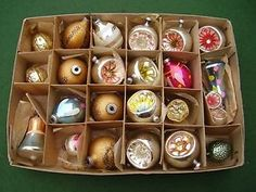 Lot of 24 Vintage Glass Christmas Tree Baubles Decorations 1950/60's