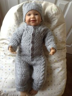 Baby Irish Knit Snowsuit and Hat in Silver Grey to fit 3-6 Month or 26 inch Reborn Baby Doll Ready to Ship by Meganknits4charity on Etsy