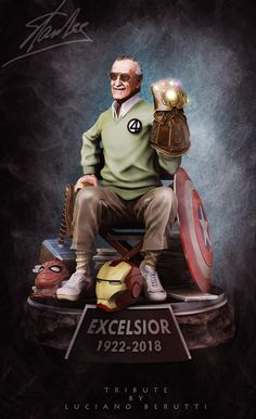 # Marvel& tribute to Stan Lee - collector& statue, Luciano Berutti on ArtStation below . - to Stan Lee – collector& statue, Luciano Berutti on ArtStation below www. Marvel Dc Comics, Marvel Avengers, Marvel Jokes, Bd Comics, Marvel Funny, Marvel Heroes, Captain Marvel, Avengers Movies, Captain America