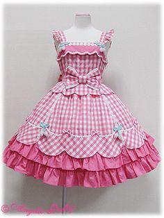 Angelic Pretty - Berry-chan JSK in pink Baby Girl Frocks, Frocks For Girls, Kids Frocks, Little Dresses, Little Girl Dresses, Cute Dresses, Girls Dresses, Kawaii Fashion, Lolita Fashion