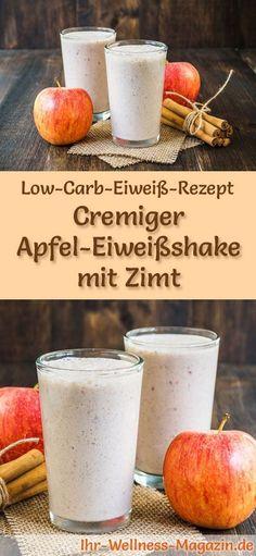 Apfel-Eiweißshake mit Zimt selber machen - ein gesundes Low-Carb-Diät-Rezept für Frühstücks-Smoothies und Proteinshakes zum Abnehmen - ohne Zusatz von Zucker, kalorienarm, gesund ... #eiweiß #eiweissshake #lowcarb #smoothie #abnehmen #zuckerfrei