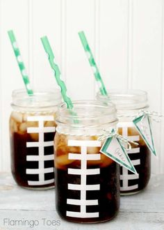 DIY mason jar football cups- perfect for superbowl parties