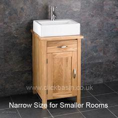 Solid Oak Ohio Narrow Bathroom Sink Cabinet With Ceramic Basin Tap Waste Set