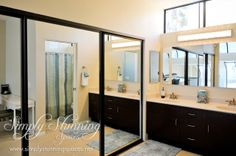 Add mirrors to your closet doors to create a maximized bathroom space