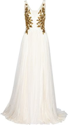 Tulle gown with gold embroidery on the bodice #Marchesa