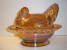 "Mosser+Glass+AMBER+CARNIVAL+8.5""+TURKEY+ON+NEST+BASKET+Covered+Candy+Dish"