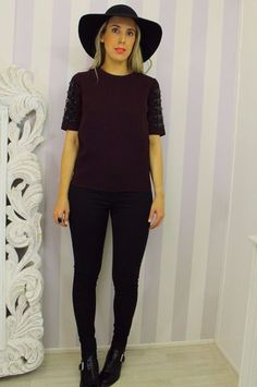 Next Jewel Embellished Sleeve Boxy Mulberry Black Evening Top 10  | eBay