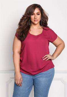 Plus Size Clothing | Plus Size Chiffon Side Gathered Blouse | Debshops