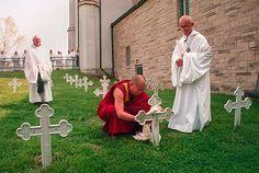 Dalai Lama at the grave of Thomas Merton by jimforest, via Flickr