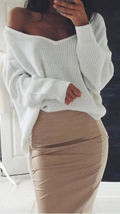 trendy outfit knit skirt