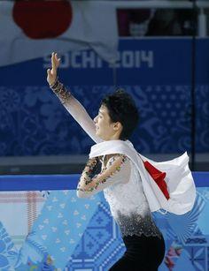 金メダルに輝いた羽生選手。ソチ五輪にて。(ロイター)