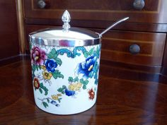 Vintage Jam Jar Jelly Jar Spoon// Coalport English Porcelain Silverplate Spoon// Condiment Jar Pot. $20.00, via Etsy.