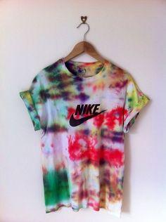 fixedclothinguk:    vintage Nike print tie dye tee, for sale, size medium  http://fixedclothing.bigcartel.com/product/nike-print-tie-dye  FIXED CLOTHING