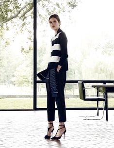Stay classy in dark blue and white stripes