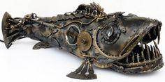625 Ice Sculptures, Lion Sculpture, Whale Art, Robot Concept Art, Steampunk Design, Metal Art, Metal Working, Skull, Fish