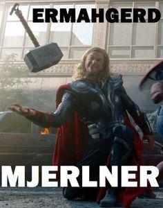 ERMAHGERD MJERLNER || Thor Odinson || Avengers Gag Reel || 500px × 637px || #meme #bloopers