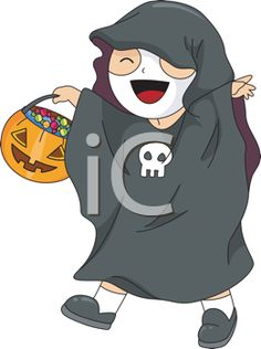 Royalty Free Clipart Image of a Child Trick Or Treating