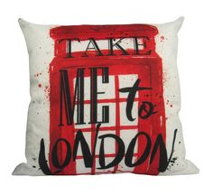 Take me to London Red British Telephone Booth  Pillow Cover