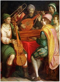 1600s—Italy: An anonymous Italian painting portrays an instrumental ensemble with diverse dress and a mixed grouping of winds, strings, and keyboard (see below image; public domain).