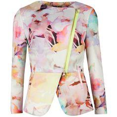 Ted Baker Saamsa Electric Daydream Biker Jacket, Print (945 SEK) ❤ liked on Polyvore featuring outerwear, jackets, blazers, coats, coats & jackets, peplum jacket, moto jacket, moto biker jacket, pink jacket and asymmetrical zip jacket