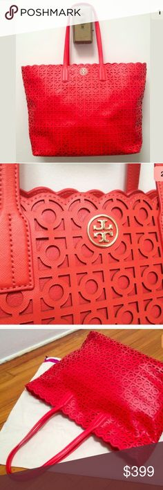 """Tory Burch Neverfull Tote Cut Out Saffiano Leather Brand New 'Kelsey' Laser Cut EW Tote by Tory Burch. MSRP $650. Comes in the classic 'neverfull' style and features poppy red laser cut saffiano leather against a leather background.  Details: •Tan Tory Logo lining. •Saffiano leather handles. •1 large interior zipper pocket. •2 interior cellphone pockets. •Gold Tory Burch Logo on the outside •Magnetic snap closure  Measurements: •19""""L x 12""""H x 4.5""""W •9"""" strap drop…"""