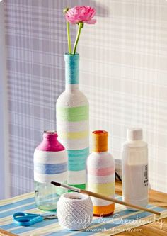 Roped and colorful! Wrap your bottles in thin white rope, and then color it, making it a striped delight! Choose lively colors and bright up your space.