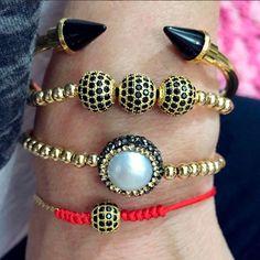 Vila Veloni Jewelry Store - Set By Vila Veloni Gold And Black Mallorca Pearl Bracelets, $219.00 (http://www.vilaveloni.com/set/set-by-vila-veloni-gold-and-black-mallorca-pearl-bracelets/)