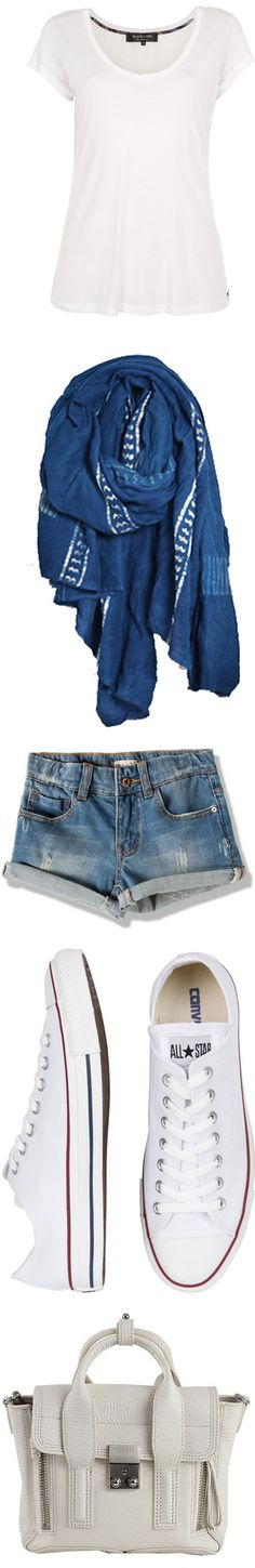 """""""White Top w/ Blue Scarf, Jean Shorts & Converse"""" by sarratori ❤ liked on Polyvore - my shorts will not be as short."""