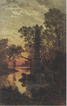 Ferdinand Knab (German, 1834–1902) Title: Parklandschaft mit Obelisk , 1882–1882