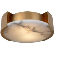 KELLY WEARSTLER | MELANGE SMALL FLUSH MOUNT. Alabaster stone coupled with luxe metal 840