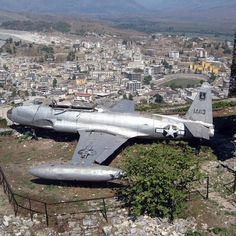 An Lockheed T-33 Shooting Star overlooking Gjirokastra, Albania. This aircraft was forced to land at Tirana Airport in December 1957, due to technical problems.