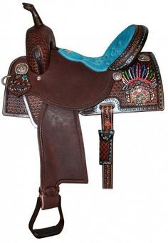 Brittany Pozzi Pro Barrel Racer Saddle in Brown Vintage leather, 1/2 Southwest Diamond Tooled with a tooled, painted & embellished Indian Headdress on 90* rear skirts, Turquoise Suede Bicycle Seat with Brown rough out seat jockeys & fenders with tooled Ric Rac border, Turquoise buck stitch border around the rear skirts, front & cantle, 3 way in skirt rigging with rear slot, Fleece Lined Skirts, Leather Horn, Silver Indian Conchos & Copper Aluminum Stirrups