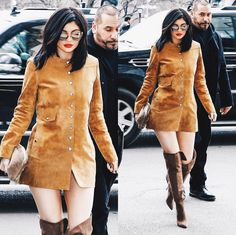1a6037c4156f coat kylie jenner over the knee boots suede suede jacket sunglasses dress  fashion week 2016 button up brown boots isabel marant ny fashion week 2016