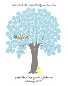 Baby Shower Guest Sign In Hearts Tree Guest Book Poster