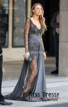 Gossip Girl Blake Lively Zuhair Murad V-Neck Long Sleeves Lace Grey Evening Dresses Evening Gown 2013 Prom/Evening Dress Online with $74.63/Piece on Lovedresseslove's Store | DHgate.com