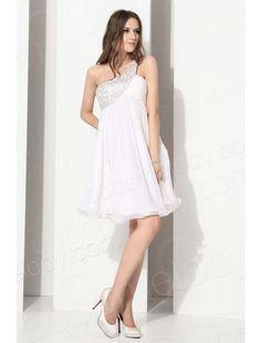 A Line One Shoulder Knee Length Chiffon White Cocktail Dress E12005