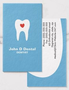 Tooth and heart blue dental business cards. A modern, minimal and elegant design for everyone who loves teeth. Ideal for dentist, dental assistants, orthodontists and dental hygienists