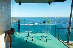 Oceanfront glass office.