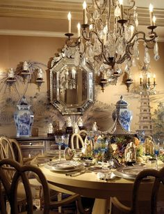 Dining room chandelier crystal blue ginger jars painted walls mural chinoiserie elegant home