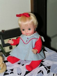 """This was exactly like MY doll when I was little.  She was a tinier version of the more readily seen 18"""" """"Kitten"""" doll.  This was my 'baby'!  Vintage 1950 60s Madame Alexander Littlest Kitten Baby Doll in Tagged Outfit 