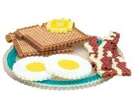 "Have fun creating a ""healthy breakfast"" out of Perler Beads, complete with eggs sunny side up, bacon, and whole wheat toast with a pat of butter! Great to use with youngsters for playing pretend, or for a school project about nutrition. Melty Bead Patterns, Pearler Bead Patterns, Perler Patterns, Beading Patterns, Melty Beads Ideas, Diy Perler Beads, Perler Bead Art, Pearler Beads, 8bit Art"