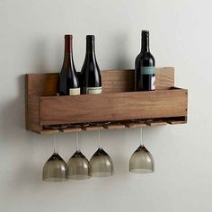 This rack that will hold wine glasses *and* bottles ($49.95).