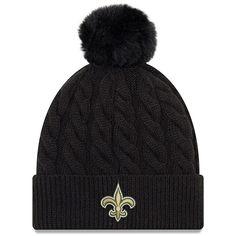 Women s New Orleans Saints New Era Black Paradigm Cuffed Knit Hat with Pom 92d09245c5d5