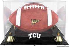 TCU Horned Frogs Golden Classic Logo Football Display Case with Mirror Back