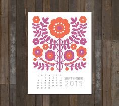 September 2015 Artspiration Calendar  Begin the Autumn season by creating this lovely take on a traditional folk art floral. Take inspiration from our color palette or use colors that compliment your decor. After the month is over, simply cut off the bottom of the calendar and you have a piece of art ready to hang.  DIY, created with a Cricut Explore, creative cards, crafting, crafts