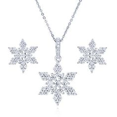 BERRICLE Rhodium Plated Sterling Silver Cubic Zirconia CZ Snowflake Necklace and Earrings Set Review
