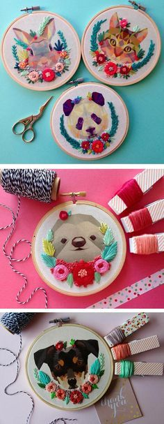 Calgary-based embroiderer Maria Arseniuk adorns geometric-style portraits of animals with sculptural stitched bouquets and floral wreaths.