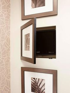 Nifty Niches Niches carved out between wall studs provide the prefect spot to conceal bathroom items of all shapes and sizes. Here, a trio of cutouts house luxury items, such as a small television (shown). Black-and-white framed art prints function as cabinet doors.