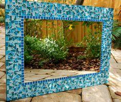 Teal Mosaic Mirror Large Wall Mirror van GreenStreetMosaics op Etsy